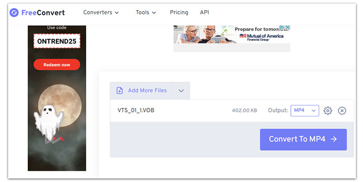 Convert VOB to MP4 with Freeconvert