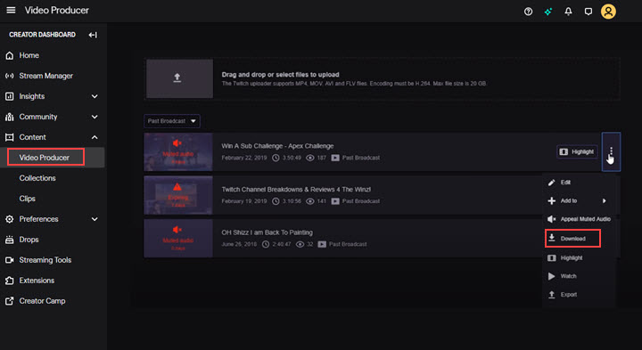 download a video from twitch to your pc