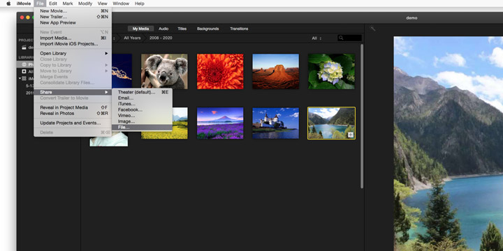 Export File in iMovie