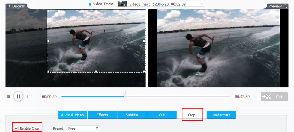 crop gopro video frame size