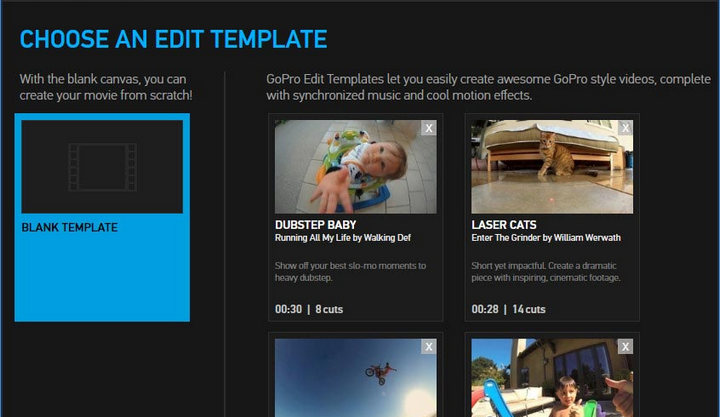 choose an edit template on GoPro Studio