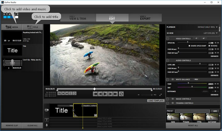 edit video with GoPro Studio