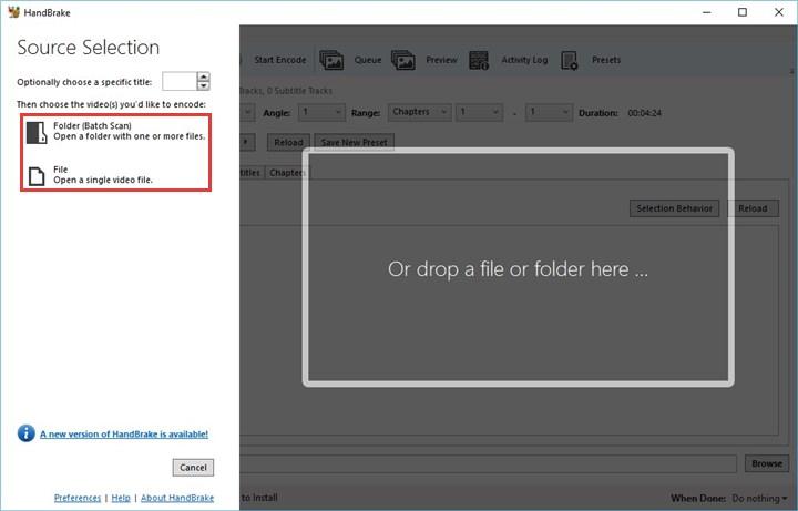 Import VOB File to HandBrake