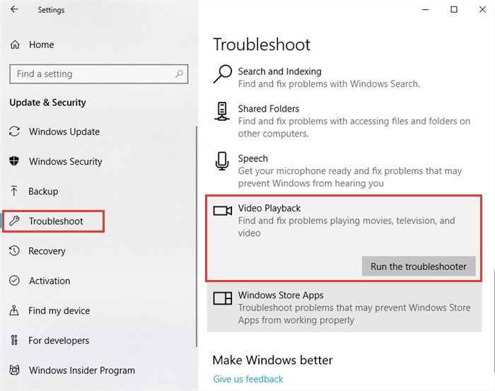 Windows 10 Video Playback troubleshoot feature