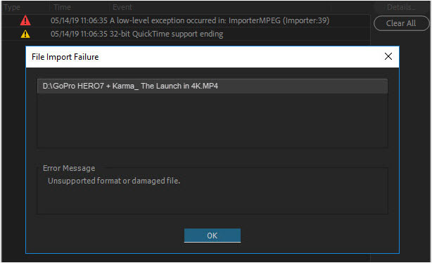 Premiere Pro CC 2019 Can't Import MP4 File - Troubleshooting